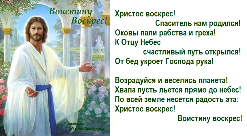 стих воистину воскресе поздравление начинается последней